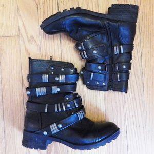 Skechers Black Moto Biker Boots Sz 7